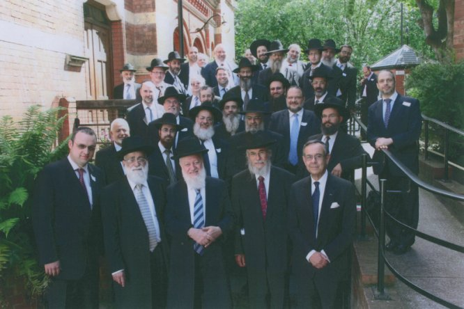 Front row, left to right: Rabbi Abel, Dayan David (Sephardi Beth Din), Dayan Basri, Dayan Amor, Rabbi Abraham Levy