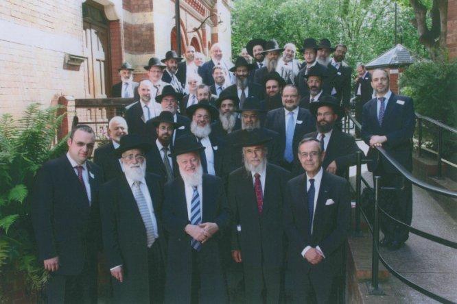 Front row, left to right: Rabbi Abel, Dayan David (Sephardi Beth Din), Dayan Basri, Dayan Amor, Rabbi Abraham Levy